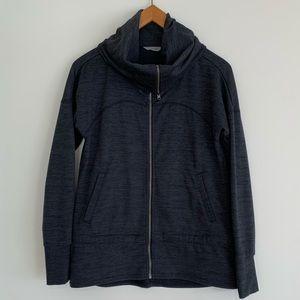 Athleta Full-Zip Long Funnel Neck Sweater Grey SzS
